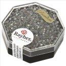 Delica-Rocailles, 1,6 mm ø , silbergrau, Dose 6g, transparent Rainbow