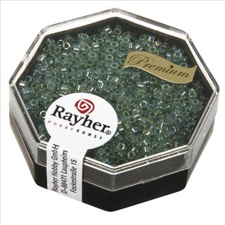Delica-Rocailles, 1,6 mm ø , jaspis, Dose 8g, transparent Rainbow