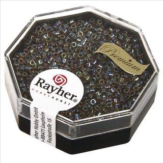 Delica-Rocailles, 1,6 mm ø , regenbogen, Dose 8g, transparent Rainbow