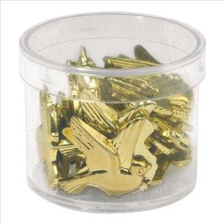 Kunststoff-Taube, 2 cm, gold, Dose 24 Stück