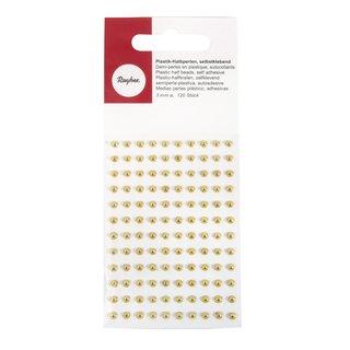 Plastik-Halbperlen, selbstklebend, gold, ø 3 mm, Blister 120 Stück