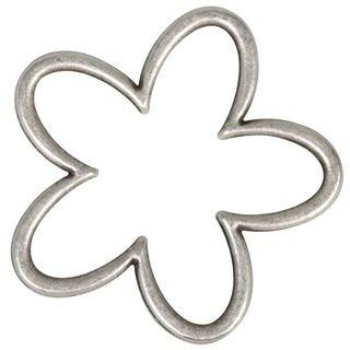 Metall- Zierelement: Blüte, silber, 3,5x3,5cm, 2,5mm
