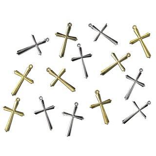 Acryl-Kreuz, 28 mm, gold, 5 Stück