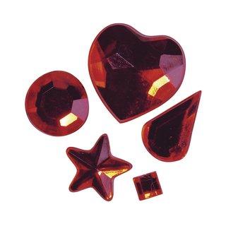 Acryl-Strasssteine zum Aufkleben, rot, 3-12 mm, 5 Sorten, Beutel 58 Stück