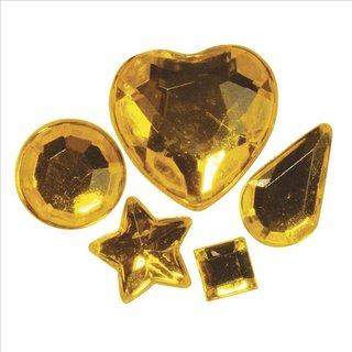 Acryl-Strasssteine zum Aufkleben, gelb, 3-12 mm, 5 Sorten, Beutel 58 Stück