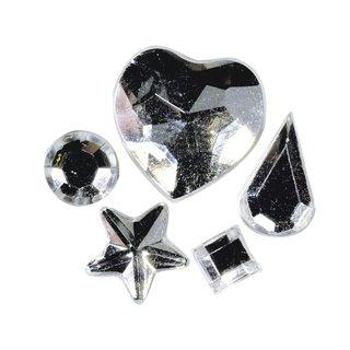 Acryl-Strasssteine zum Aufkleben, kristall, 3-12 mm, 5 Sorten, Beutel 58 Stück
