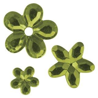 Acryl- Strassblüten, hellgrün, 5,8,10mm, Beutel 310 Stück