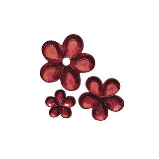 Acryl- Strassblüten, rot, 5,8,10mm, Beutel 310 Stück