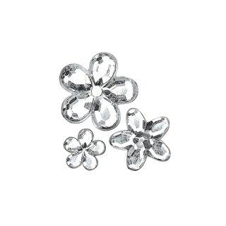 Acryl- Strassblüten, kristall, 5,8,10mm, Beutel 310 Stück