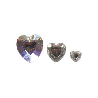 Acryl- Strassherzen, kristall irisierend, 6,10,14mm, 310 Stück