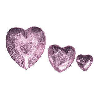 Acryl- Strassherzen, rosé, 6,10,14mm, 310 Stück