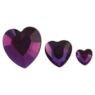 Acryl- Strassherzen, lila, 6,10,14mm, 310 Stück