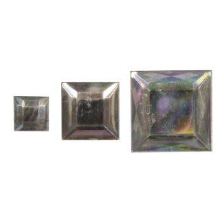 Acryl- Strassquadrate, kristall irisierend, 6,10,14mm, 310 Stück