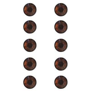 Plastik-Strasssteine, selbstklebend, mittelbraun, 5 mm