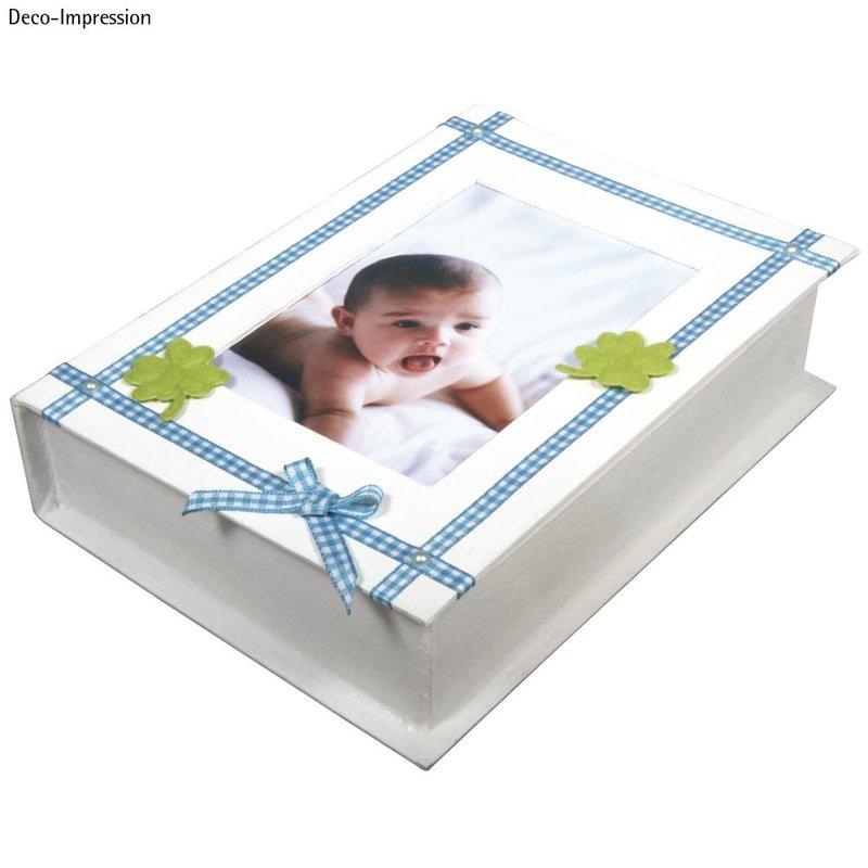 Pappmaché Buch-Box FSC Recycled 100%, 20,7x15,3x4,7cm, m. Fotorahmen