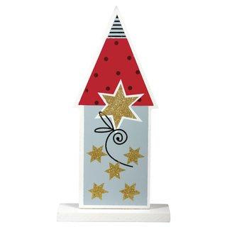 """Holz Aufsteller """"Christmas Village"""" 2 mit Glitter"""